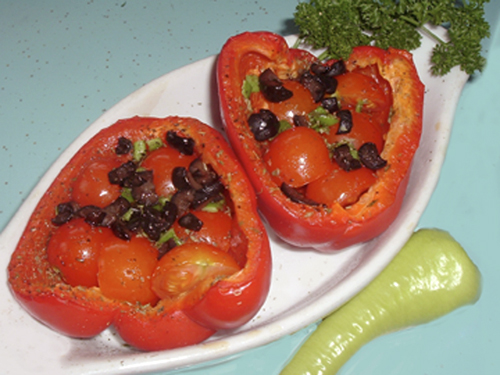 Provencal Tomato Stuffed Peppers recipe – 91 calories