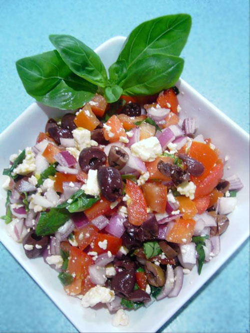 Tomato, Basil and Feta Cheese Salad recipe – 64 calories