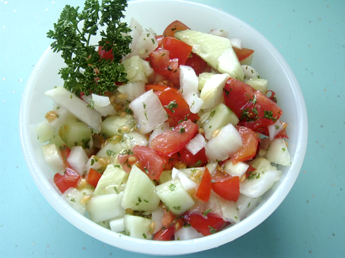 Persian Tomato and Cucumber Salad recipe – 68 calories | Diet ...