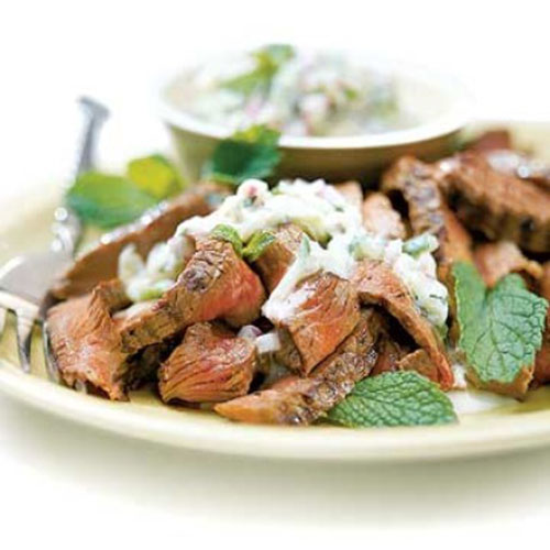 beef with cucumber raita recipe picture