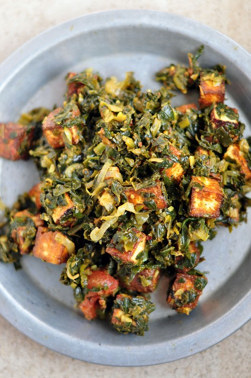 low-calorie Indian spinach paneer palak recipe picture