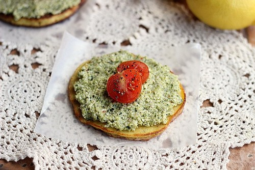 Low-Fat Broccoli Pesto with Herb Coconut Flatbread (Paleo) recipe photo