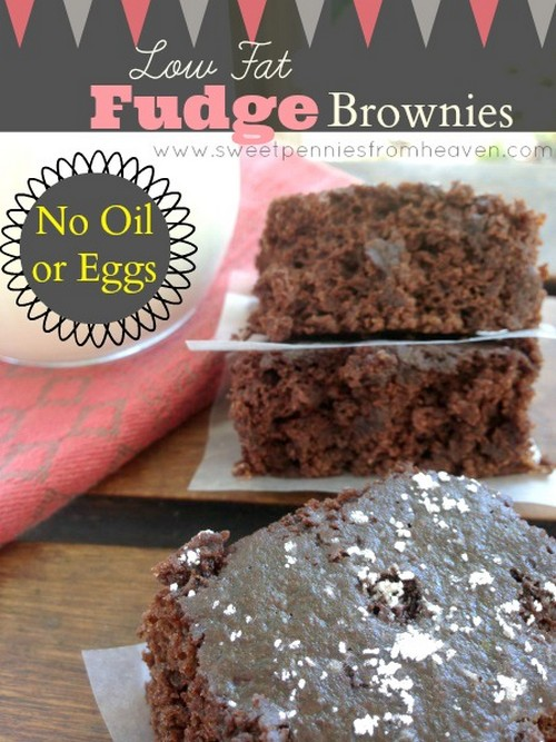 Low Fat Fudge Brownie Recipe with No Oil or Eggs recipe photo