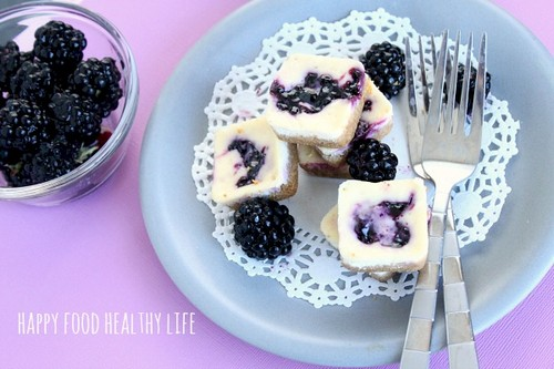 Mini Lowfat Blackberry Cheesecake Bites recipe photo