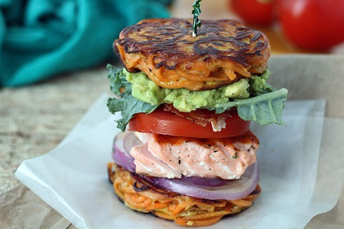 Salmon BLT & Avocado in a Sweet Potato Noodle Bun recipe photo