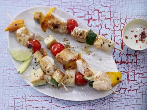 Fish and Vegetable Skewers recipe - 100 calories